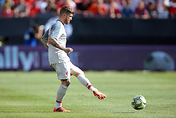 July 28, 2018 - Ann Arbor, Michigan, United States - Alberto Moreno (18) of Liverpool passes the ball during an International Champions Cup match between Manchester United and Liverpool at Michigan Stadium in Ann Arbor, Michigan USA, on Wednesday, July 28,  2018. (Credit Image: © Amy Lemus/NurPhoto via ZUMA Press)