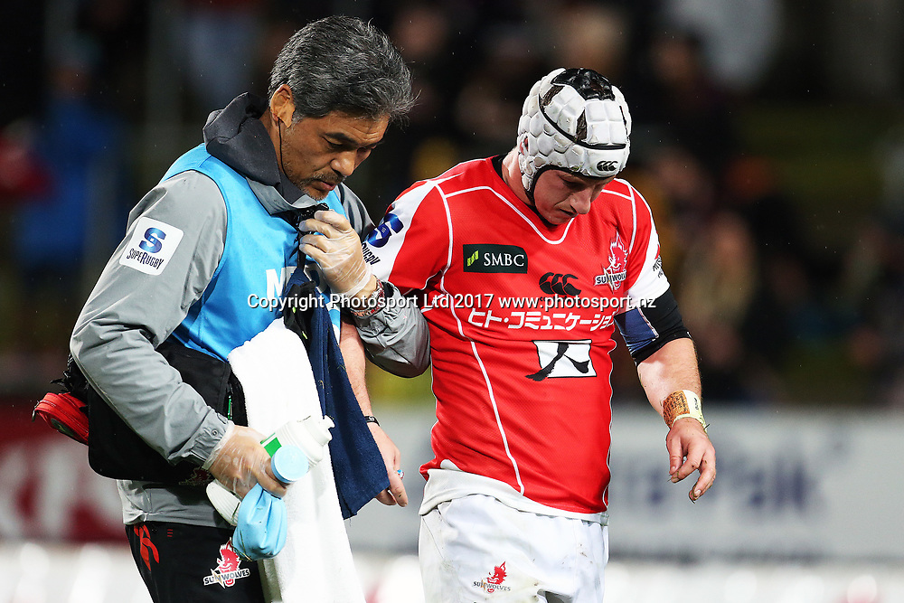 Sunwolves first five Hayden Cripps leaves the field after sustaining an injury during the Super Rugby rugby match - Chiefs v Sunwolves played at FMG Stadium Waikato, Hamilton, New Zealand on Saturday 29 April 2017.  Copyright photo: Bruce Lim / www.photosport.nz