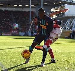 Derrick Williams of Bristol City battles with Moses Odubajo of Hull City - Mandatory by-line: Paul Knight/JMP - Mobile: 07966 386802 - 21/11/2015 -  FOOTBALL - Ashton Gate Stadium - Bristol, England -  Bristol City v Hull City - Sky Bet Championship