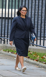 © Licensed to London News Pictures. 22/10/2019. London, UK. Priti Patel, Home Secretary leaves 10 Downing Street after a Cabinet meeting this morning… As Boris Johnson tries to get his Brexit Bill through Parliament this week. Photo credit: Alex Lentati/LNP