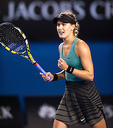 Canadian Eugenie Bouchard (CAN) celebrates her victory after she won her fourth round match against home country favorite Casey Dellacqua (AUS)  in the seventh day of the 2014 Australian Open. Brouchard won the match 7(7) - 6(5), 2-6, 0-6. The match was held on center court at Melbourne's Rod Laver Arena.