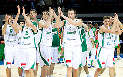 Goran Jagodnik, Zoran Dragic, Erazem Lorbek, Uros Slokar, Goran Dragic  of Slovenia after the basketball match between National teams of Slovenia and Bulgaria in Group D of Preliminary Round of Eurobasket Lithuania 2011, on August 31, 2011, in Arena Svyturio, Klaipeda, Lithuania.   Slovenia defeated Bulgaria 67 - 59. (Photo by Vid Ponikvar / Sportida)