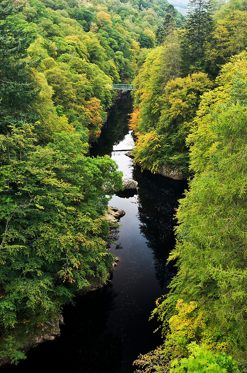 North up the River Garry as it flows through the Pass of Killiecrankie in the Scottish Highlands. Jacobite Rebellion battle site