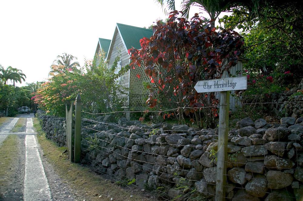 the entrance to the The Hermitage Plantation Inn, Nevis 4/05