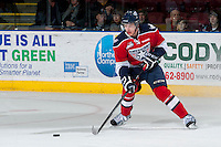 KELOWNA, CANADA - MARCH 28: Michal Plutnar #7 of the Tri-City Americans stops on the ice with the puck against the Kelowna Rockets on March 28, 2014 during game 5 of the first round of WHL Playoffs at Prospera Place in Kelowna, British Columbia, Canada.   (Photo by Marissa Baecker/Getty Images)  *** Local Caption *** Michal Plutnar;