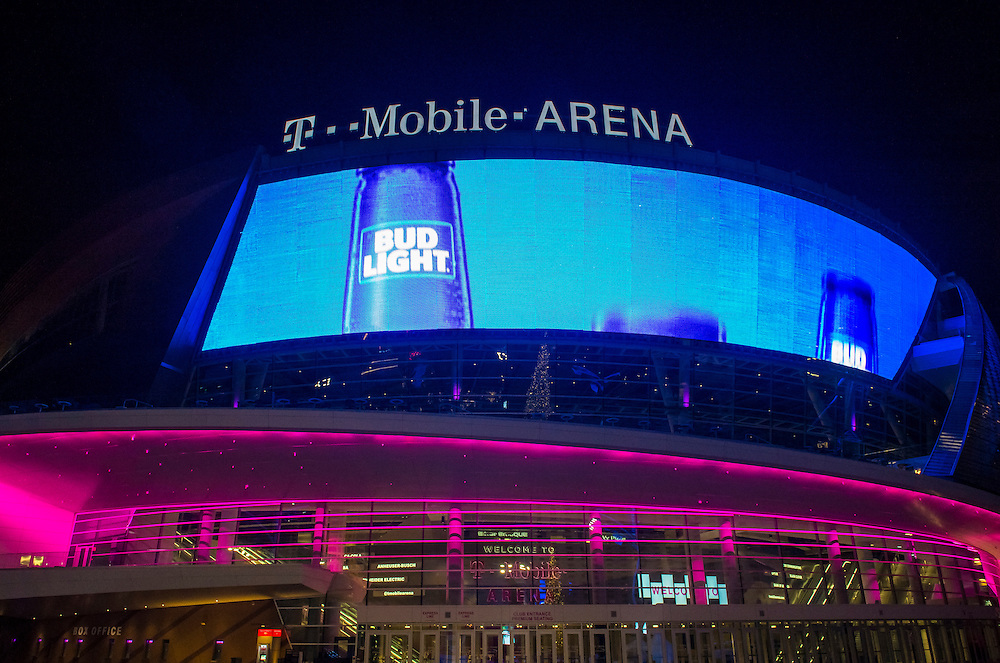 LAS VEGAS - NOV 24 : The T-Mobile arena in Las Vegas on November 24 2016.  The arena is located west of the Las Vegas Strip and has 20,000 seat capacity