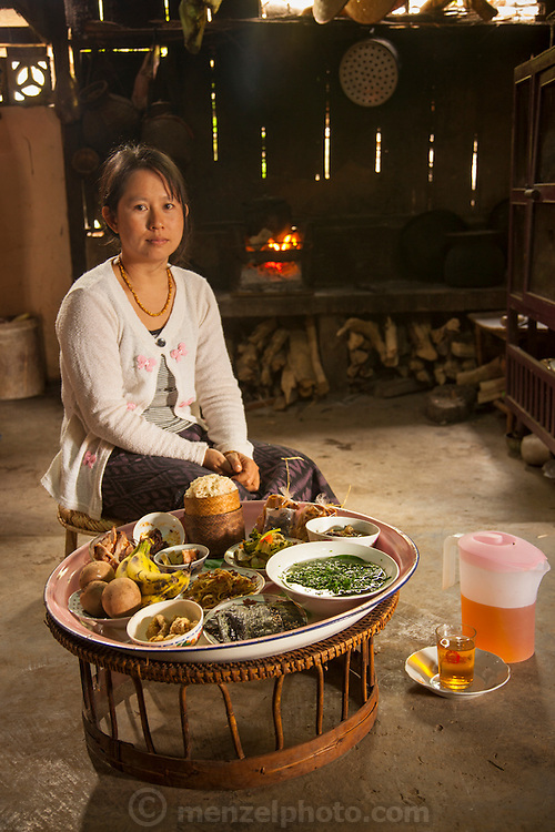 One day's food subject in Ban Phanluang, across the Nam Khan River from Luang Prabang, Laos.