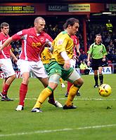 Photo: Dave Linney.<br />Crewe Alexandra v Norwich City. Coca Cola Championship.<br />10/12/2005.  Dean Ashton(Norwich) on the ball with Steve Jones( Crewe)