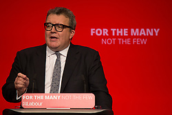 © Licensed to London News Pictures. 26/09/2017. Brighton, UK. Member of parliament for West Bromwich East and Deputy leader of the Labour party TOM WATSON speaks at the 2017 Labour Party Conference in Brighton. Photo credit: Hugo Michiels/LNP