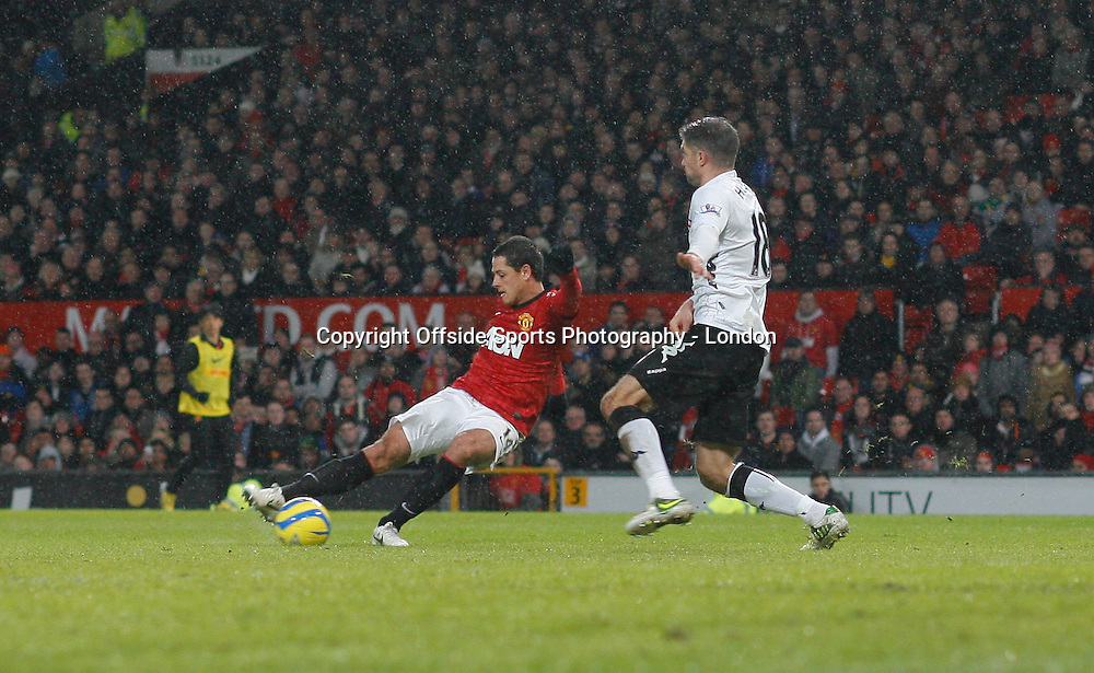 26 January 2013 FA Cup Manchester United v Fulham.<br /> Javier Hernandez scores the fourth goal for United.<br /> Photo: Mark Leech.