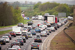 © Licensed to London News Pictures. 14/04/2017. Leeds UK. Picture shows tailbacks on the A1 near Leeds as people make their getaway for the easter weekend in Yorkshire. Photo credit: Andrew McCaren/LNP