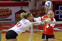 09 October 2009: Angela Rego beats Kasey Mollerus to a save and dig. The Redbirds of Illinois State defeated the Braves of Bradley in 3 sets during play in the Redbird Classic on Doug Collins Court inside Redbird Arena in Normal Illinois