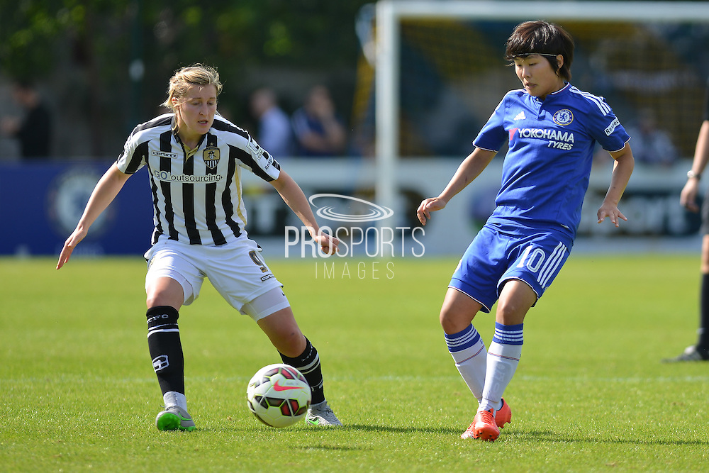 Notts County Ladies forward Ellen White and Chelsea Ladies midfielder Ji So-Yun during the FA Women's Super League match between Chelsea Ladies FC and Notts County Ladies FC at Staines Town FC, Staines, United Kingdom on 6 September 2015. Photo by Mark Davies.