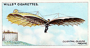 Otto Lilienthal (1848-1896) German gliding pioneer and aeronautical inventor, flying one of his gliders. He made about 2,000 flights before being killed. From set of cards on aviation published 1910. Chromolithograph.