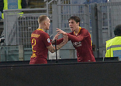 February 3, 2019 - Italy - Nicolò Zaniolo celebrates after scoring goal 1-1 during the Italian Serie A football match between A.S. Roma and A.C. Milan at the Olympic Stadium in Rome, on february 03, 2019. (Credit Image: © Silvia Lore/NurPhoto via ZUMA Press)