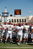 21 August 2008:  USC Trojans Pac-10 NCAA College football team final intrasquad scrimmage of fall camp in front of 8,000 fans in the Los Angeles Memorial Coliseum near school campus.  White team (1st and 2nd teamers) defeated the Cardinal (reserves) team 28-7 on Thursday.
