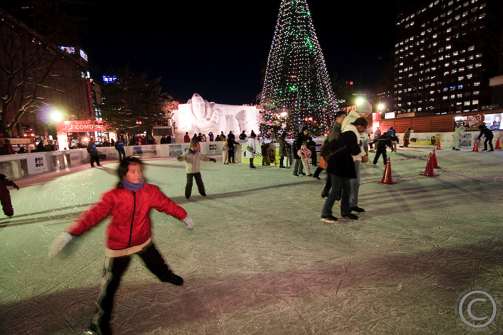 An ice skating rink set up in the middle of Odori Park in Sapporo City during the annual world famous Snow Festival