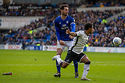 Wayne Routledge of Swansea City loses his boot following a challenge by Sean Morrison of Cardiff City during the EFL Sky Bet Championship match between Cardiff City and Swansea City at the Cardiff City Stadium, Cardiff, Wales on 12 January 2020.