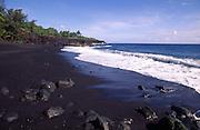 Kahena Black Sand Beach, Puna, Island of Hawaii<br />