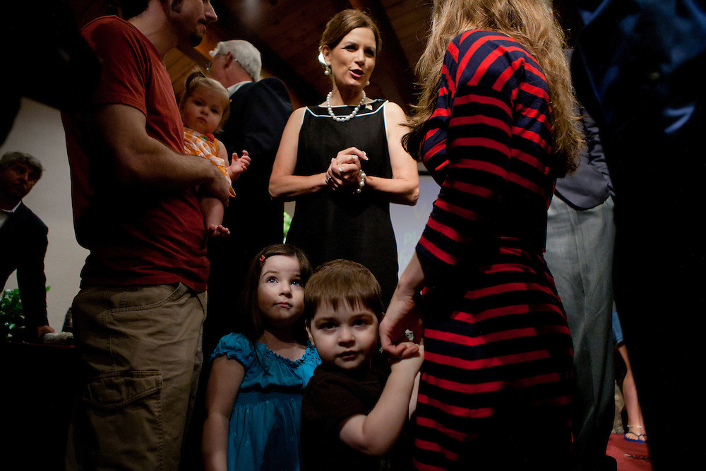 Republican presidential hopeful Michele Bachmann talks to members of the congregation of New Life church during a campaign stop on Sunday, July 24, 2011 in Marion, IA.