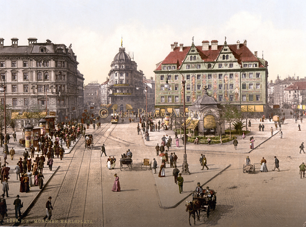 View of Karlsplatz, Munich, from the Carlsthor (Karlsthor) looking towards Central Railway Station, Bavaria, Germany,  1890-1905. Transport Tram Tramline Carriage Horse Pedestrian Pavement Road