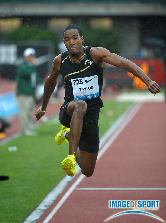 Jun 1, 2012; Eugene, OR, USA; Christian Taylor wins the triple jump at 57-2 1/4 (17.62m) in the 2012 Prefontaine Classic at Hayward Field.