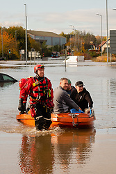 South Yorkshire flooding. Ickles Roundabout Rotherham. Specialist rescue teams from the West Midlands Fire service rescue people from vehicles and business premises along the A6178 Sheffield Rd<br /> <br />  Copyright Paul David Drabble<br />  07 November 2019<br />  www.pauldaviddrabble.co.uk