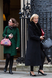 London, UK. 18th December, 2018. Andrea Leadsom MP, Lord President of the Council and Leader of the House of Commons, and Baroness Evans of Bowes Park, Leader of the House of Lords and Lord Privy Seal, leave 10 Downing Street following the final Cabinet meeting before the Christmas recess. Topics discussed were expected to have included preparations for a 'No Deal' Brexit.