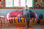 San Miguel de Allende, Guanajuato, Mexico: Artist Anado McLauchlin in his studio, decorated with mosaics made of tile, glass, and shells. It is on an acre of land outside San Miguel Allende, Mexico. June 2009. (photo: Ann Summa)..