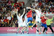 DESCRIZIONE : Handball Jeux Olympiques Londres <br /> GIOCATORE : Canellas Joan ESP Gojun Jakov<br /> SQUADRA : Espagne HOMME<br /> EVENTO :  Handball Jeux Olympiques<br /> GARA : Croatie Espagne<br /> DATA : 06 08 2012<br /> CATEGORIA : handball Jeux Olympiques<br /> SPORT : HANDBALL<br /> AUTORE : JF Molliere <br /> Galleria : France JEUX OLYMPIQUES 2012 Action<br /> Fotonotizia : France Handball Homme Jeux Olympiques Londres premier tour Copper Box<br /> Predefinita :