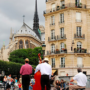Performers near Notre Dame of paris