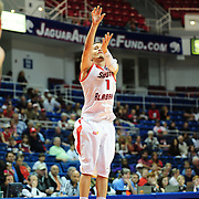 South Alabama's guard Trey Anderson (1) shoots a 3 point shot in the first half of play in Mobile, AL. Denver leads South Alabama 30-24 at halftime on January 7, 2012....