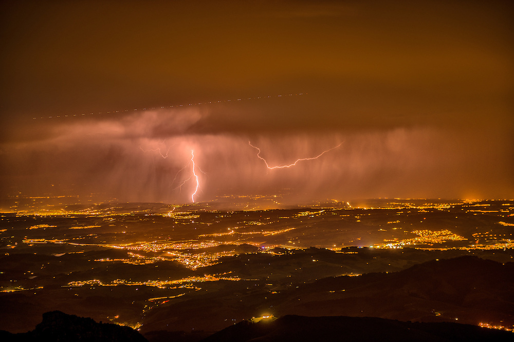 Europe,Switzerland, Appenzell, view from Mount Saentis towards lightning over lake Constance