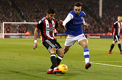 George Baldock of Sheffield United takes on Morgan Fox of Sheffield Wednesday - Mandatory by-line: Robbie Stephenson/JMP - 12/01/2018 - FOOTBALL - Bramall Lane - Sheffield, England - Sheffield United v Sheffield Wednesday - Sky Bet Championship