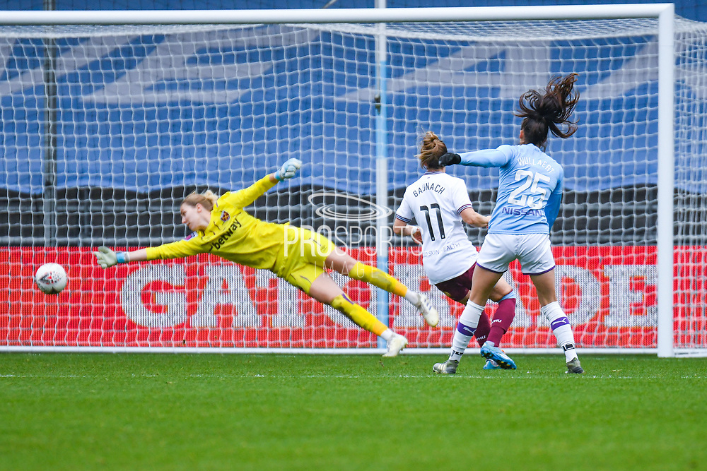 Manchester City Women forward Tessa Wullaert (25) scores a goal to make the score 5-0 during the FA Women's Super League match between Manchester City Women and West Ham United Women at the Sport City Academy Stadium, Manchester, United Kingdom on 17 November 2019.