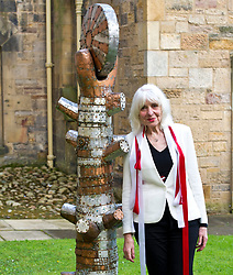 Pictured: Paula Sapietis<br /> <br /> Late sculptor who survived concentration camp horror. Latvian Zigfrids Sapietis settled and worked in Newbattle, Midlothian, until his death aged 90 in 2014. His widow, Paula, today unveiled one of his works, Tree of Life, which she has gifted to Newbattle Abbey College. Latvia's Honary Consul to Scotland, John McGregotr and Dr Alasdair Allan, MSP, Minister for International Development and Europe were among the invited guests.<br /> <br /> Ger Harley: 1 September 2017