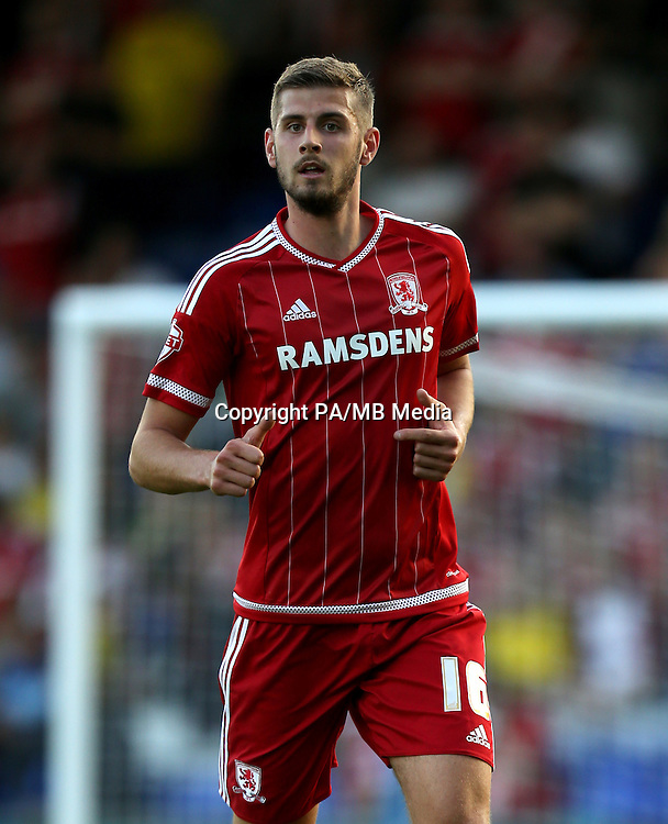 "Middlesbrough's Jack Stephens during the Capital One Cup, First Round match at Boundary Park, Oldham. PRESS ASSOCIATION Photo. Picture date: Wednesday August 12, 2015. See PA story SOCCER Oldham. Photo credit should read: Simon Cooper/PA Wire. EDITORIAL USE ONLY. No use with unauthorised audio, video, data, fixture lists, club/league logos or ""live"" services. Online in-match use limited to 45 images, no video emulation. No use in betting, games or single club/league/player publications."