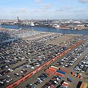 NLD/Amsterdam/20120227 - Luchtopname van Auto's in haven amsterdam