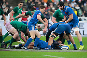 Teddy Thomas (FRA) gave the ball to Antoine Dupont (FRA), Jonathan Sexton (IRL) in the background during the NatWest 6 Nations 2018 rugby union match between France and Ireland on February 3, 2018 at Stade de France in Saint-Denis, France - Photo Stephane Allaman / ProSportsImages / DPPI