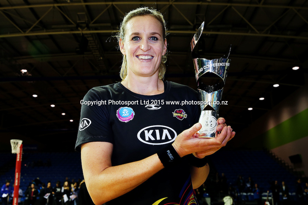 Leana de Bruin of the Magic poses with the New Zealand Conference Champions trophy. 2015 ANZ Championship Conference Final, Northern Mystics v WBOP Magic, The Trusts Arena, Auckland, New Zealand. 8 June 2015. Photo: Anthony Au-Yeung / www.photosport.co.nz