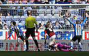 Wigan Athletic striker Marc-Antoine Fortune scores to make it 2-1 to Wigan during the Sky Bet Championship match between Wigan Athletic and Brighton and Hove Albion at the DW Stadium, Wigan, England on 18 April 2015.