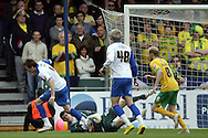 Bristol - Saturday May 1st, 2010: Chris Lines (R) of Bristol Rovers in action against Fraser Forster of Norwich City during the Coca Cola League One match at The Memorial Stadium, Bristol. (Pic by Mark Chapman/Focus Images)..