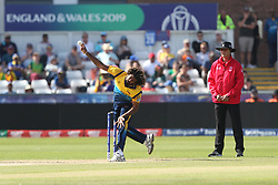 June 28, 2019 - Chester Le Street, County Durham, United Kingdom - Sri Lanka's Lasith Malinga bowling during the ICC Cricket World Cup 2019 match between Sri Lanka and South Africa at Emirates Riverside, Chester le Street on Friday 28th June 2019. (Credit Image: © Mi News/NurPhoto via ZUMA Press)
