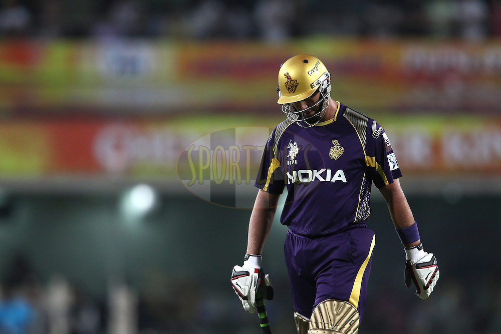 Jacques Kallis of the Kolkata Knight Riders walks back to the dug out after losing his wicket during match 21 of the Pepsi Indian Premier League Season 2014 between the Chennai Superkings and the Kolkata Knight Riders  held at the JSCA International Cricket Stadium, Ranch, India on the 2nd May  2014<br /> <br /> Photo by Shaun Roy / IPL / SPORTZPICS<br /> <br /> <br /> <br /> Image use subject to terms and conditions which can be found here:  http://sportzpics.photoshelter.com/gallery/Pepsi-IPL-Image-terms-and-conditions/G00004VW1IVJ.gB0/C0000TScjhBM6ikg