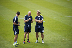 July 31, 2018 - Gent, BELGIUM - Gent's keeper coach Francky Vandendriessche, Gent's assistant coach Peter Balette and Gent's head coach Yves Vanderhaeghe pictured during a training session of Belgian soccer team KAA Gent, Tuesday 31 July 2018, in Gent. BELGA PHOTO JASPER JACOBS (Credit Image: © Jasper Jacobs/Belga via ZUMA Press)
