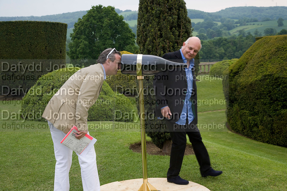 STEFAN RATIBAR AND ROLF SACHS LOOKING AT 'FOCUS LENGTH'  BY JAMES HOPKINS. The Artists' Playground. Reconstruction 3: Contemporary Art at Sudeley Castle, 2008 In partnership with Phillips de Pury & Company and supported by Chanel. 31 May 2008. *** Local Caption *** -DO NOT ARCHIVE-© Copyright Photograph by Dafydd Jones. 248 Clapham Rd. London SW9 0PZ. Tel 0207 820 0771. www.dafjones.com.