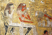 Detail from painted limestone funerary stele of Sapair. 18th Dynasty (approx. 1400 BC). Depicts Sapair and his wife before a table of offerings given by their sons. A prayer for funerary offerings is also inscribed.