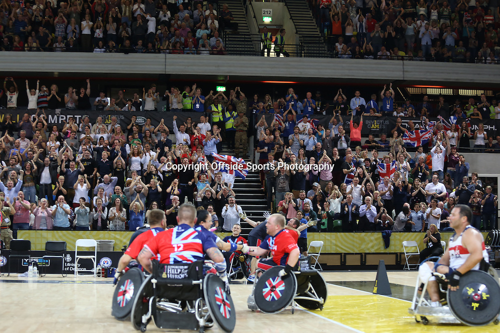 12 September 2014 - Invictus Games Day 2 - The home crowd roar as Team GB take the gold medal in Wheelchair Rugby.<br /> <br /> Photo: Ryan Smyth/Offside
