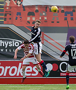 Dundee&rsquo;s Kevin Holt heads clear from Hamilton&rsquo;s Daniel Redmond - Hamilton Academical v Dundee in the Ladbrokes Scottish Premiership at the SuperSeal Stadium, Hamilton, Photo: David Young<br /> <br />  - &copy; David Young - www.davidyoungphoto.co.uk - email: davidyoungphoto@gmail.com