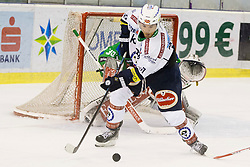13.09.2015, Hala Tivoli, Ljubljana, SLO, EBEL, HDD Telemach Olimpija Ljubljana vs EC VSV, 2. Runde, in picture Florian Muhlstein (EC VSV) during the Erste Bank Icehockey League 2. Round between HDD Telemach Olimpija Ljubljana and EC VSV at the Hala Tivoli, Ljubljana, Slovenia on 2015/09/13. Photo by Urban Urbanc / Sportida